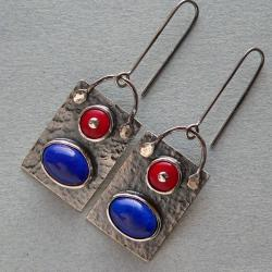 srebro kute,z koralem,długie kolczyki - Kolczyki - Biżuteria