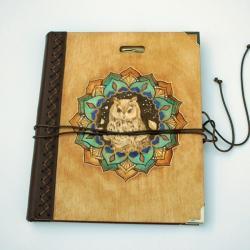 szkicownik,notatnik,pirografia,sowa,mandala - Notesy - Akcesoria