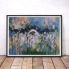 Obrazy łąka,abstrakcja,niebieska