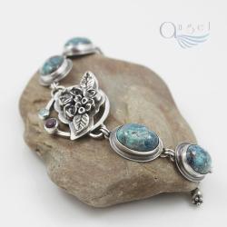 bransoletka niebieska,bransoletka z różami - Bransoletki - Biżuteria