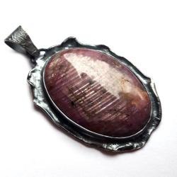 rubin,okaz,skała,srebrny,szarości,rubin,malinowy, - Wisiory - Biżuteria
