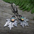 Kolczyki srebrne liście,opal,natura,organiczne,liść klonowy