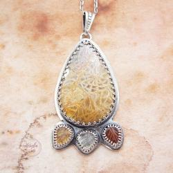 srebrny,naszyjnik,z turmalinem,z koralem fossil - Naszyjniki - Biżuteria