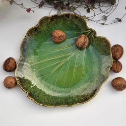 ceramika,patera,talerz,liść,liść ceramiczny - Ceramika i szkło - Wyposażenie wnętrz