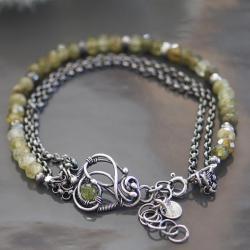 bransoletka,oliwin,wire wrapping,regulowana - Bransoletki - Biżuteria