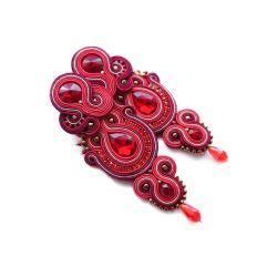 kolczyki soutache,czerwone kolczyki kolczyki - Kolczyki - Biżuteria