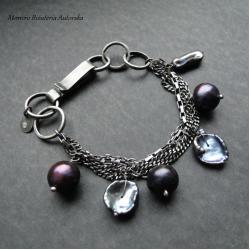srebro,perły,surowa,oksydowana,bakłażany - Bransoletki - Biżuteria