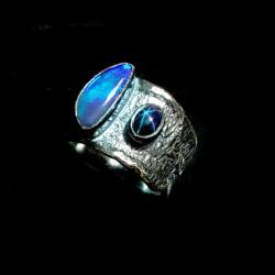 opal,srebrny,australia,szarości,szafir,gwiazda, - Pierścionki - Biżuteria