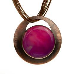 naszyjnik z miedzi,rózowy kamień,klasyka - Naszyjniki - Biżuteria