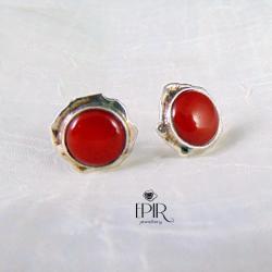 Kolczyki srebrne szyfty z koralem - Kolczyki - Biżuteria