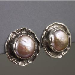 srebrne klipsy z perłami - Klipsy - Biżuteria