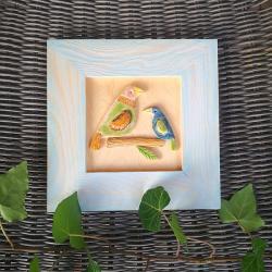 ptaki,obrazek,ramka,drewno,ceramika,ptak - Inne - Wyposażenie wnętrz