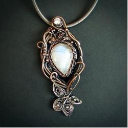 kamień księżycowy naszyjnik,baśniowy wisior - Naszyjniki - Biżuteria