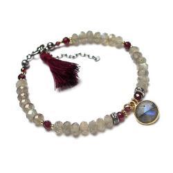 chwost,boho,kamienie,minerały - Bransoletki - Biżuteria