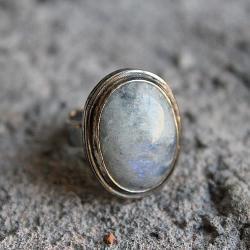 pierścionek,srebro,księżycowy,niebieski,duży - Pierścionki - Biżuteria