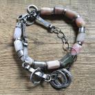 Bransoletki surowa,naturalne kamienie,różowy,opal,925,lodolit