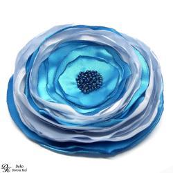 satyna,broszka,kwiatowa,niebieska,błękit - Broszki - Biżuteria