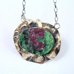 Wisior srebrny rubin z zoisytem - Wisiory - Biżuteria