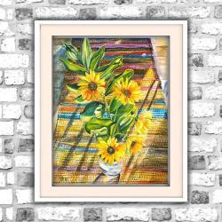 akwarela,słoneczniki,obraz,jasny - Świeczniki - Wyposażenie wnętrz