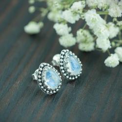kamień księżycowy,retro,romantyczne - Kolczyki - Biżuteria