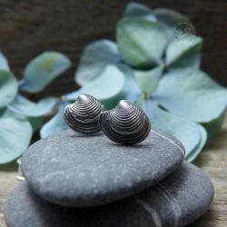 srebrne,sztyfty,morskie,muszelki,mini - Kolczyki - Biżuteria