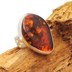 pierścionek bursztyn retro,blask,koniakowy,srebro - Pierścionki - Biżuteria