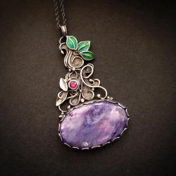 wisiorek z czaroitem,srebrny naszyjnik - Naszyjniki - Biżuteria