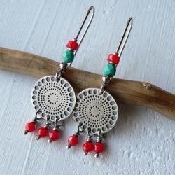 z koralem,srebro oksydowane,turkusy - Kolczyki - Biżuteria