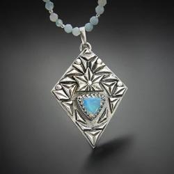 srebrny,naszyjnik,z opalem,z akwamarynem - Naszyjniki - Biżuteria