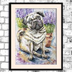 akwarela,mops,obraz,pies,jasny - Ilustracje, rysunki, fotografia - Wyposażenie wnętrz