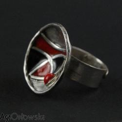 pierścionek,miseczka,emalia jubilerska,srebro - Pierścionki - Biżuteria