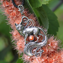 lis,wisiorek z lisem,srebrny lisek,słoneczny - Wisiory - Biżuteria