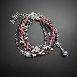 srebrna,bransoletka,z kwiatem,z rubinem,zestaw - Bransoletki - Biżuteria