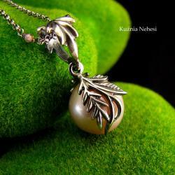 nehesi,naszyjnik,srebrny,wisior,perłą - Naszyjniki - Biżuteria