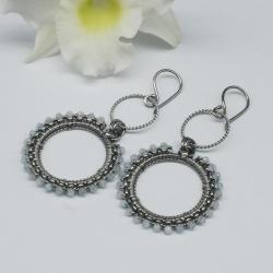 akwamaryn,koła,kolczyki,wire wrapping,długie - Kolczyki - Biżuteria