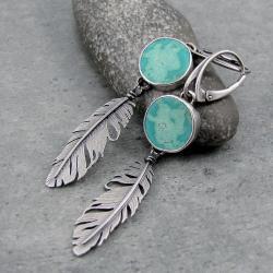 boho,piórka,zwiewne,wiszące,pastelowe,ptaszek - Kolczyki - Biżuteria