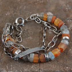 bransoleta z bursztynów,labradorytów,srebra - Bransoletki - Biżuteria
