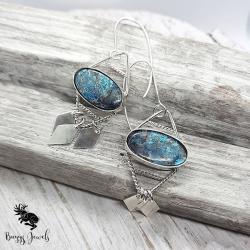 kolczyki z niebieskim kamieniem z azurytem - Kolczyki - Biżuteria
