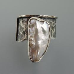 srebrny pierscionek z perła - Pierścionki - Biżuteria