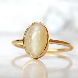pierścionek złoty z opalem, - Pierścionki - Biżuteria