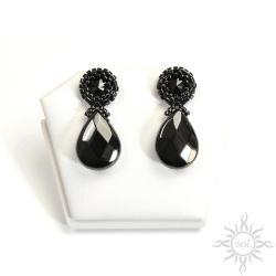 eleganckie,czarne,onyks,sztyfty,swarovski,sztyfty - Kolczyki - Biżuteria