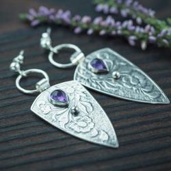 kwiaty,trójkąty,ametyst,sztyfty,romantyczne - Kolczyki - Biżuteria