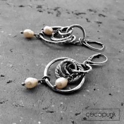 bogate,perły,długie kolczyki,boho,srebrne - Kolczyki - Biżuteria