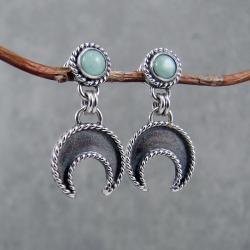 boho,lunula,księżyc,krótkie,drobne,kobiece - Kolczyki - Biżuteria
