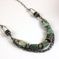 naszyjnik ze srebra i larimaru - Naszyjniki - Biżuteria