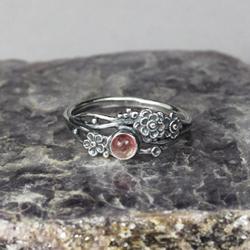 srebrne kwiaty,różowy turmalin,srebrne gałązki - Pierścionki - Biżuteria