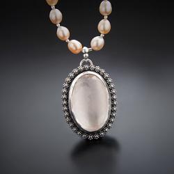 srebrny,naszyjnik,z kwarcem różowym i perłami - Naszyjniki - Biżuteria
