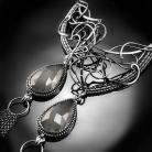 Kolczyki srebrne,kolczyki,elfickie,kamień,księżycowy,szary