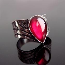 srebro,rubin,pierścionek,różowy - Pierścionki - Biżuteria