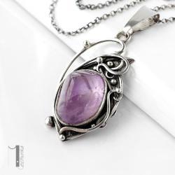 naszyjnik srebrny,ametryn,metaloplastyka - Naszyjniki - Biżuteria
